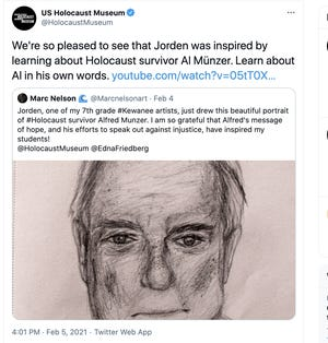 Central School student artist Jorden Anderson drew this portrait of Holocaust survivor Al Munzer.