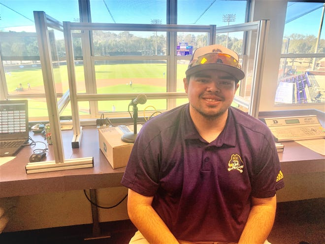 Greenville native Scott Rogers makes his NCAA Division I PA announcer debut at ECU's game against Duke at Clark-LeClair Stadium on Tuesday. The Pirates defeated the Blue Devils, 6-1.