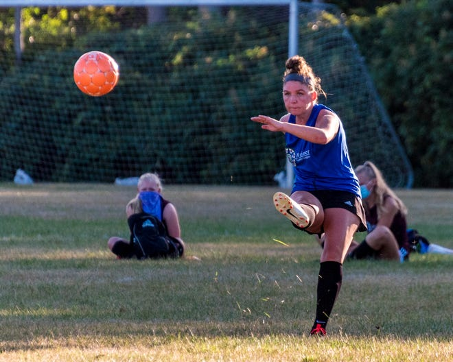 Abby Lundstrom drives the ball up field for Fairhaven during Girls High School Summer League play at Mariner.