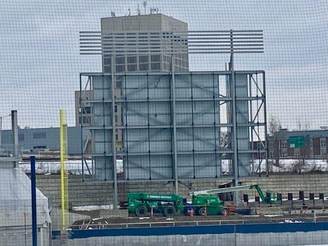 Framework for the left field scoreboard at Polar Park has started.