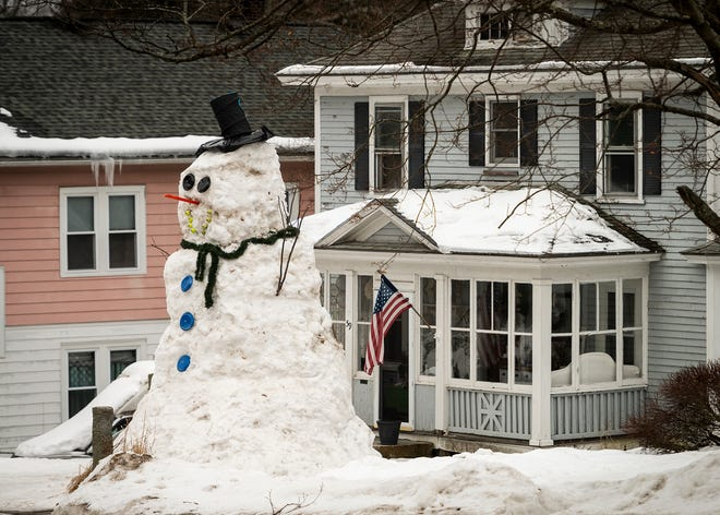 WORCESTER - A giant snowman on Hadwen Road on Tuesday.
