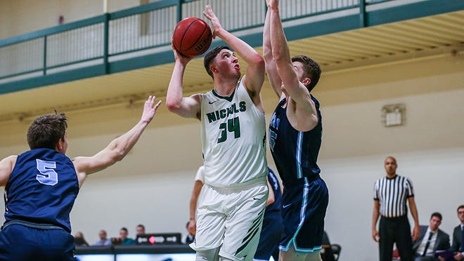 Junior forward Matt Morrow of Leicester finished his season with 23 points, 12 rebounds and 6 assists to help Nichols defeat Curry in the season finale.
