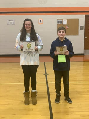 Strasburg Franklin Local School District recently named seventh grader Ally Miller as the champion of the Jan. 20 spelling bee.  Pictured, from left: Ally Miller and Avery Keffer.