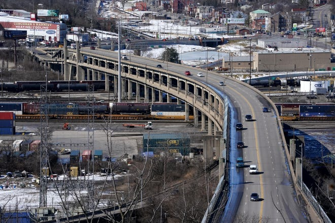 The Western Hills Viaduct, pictured, Tuesday, Feb. 23, 2021, in Cincinnati. The Western Hills Viaduct connects Interstate 75 and major roads on CincinnatiÕs west side and in Hamilton County to the downtown and uptown areas of the city. It is a major transportation link that carries more than 55,000 vehicles a day over the Mill Creek Valley and a large, active railroad yard, according to the City of Cincinnati.