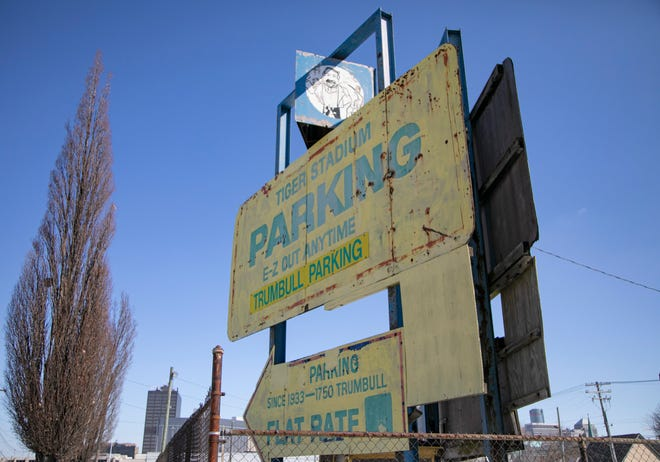 This old Detroit Tiger parking sign will be preserved while1401 Michigan Avenue, around the corner will be torn down to make way for the proposed Godfrey Hotel.