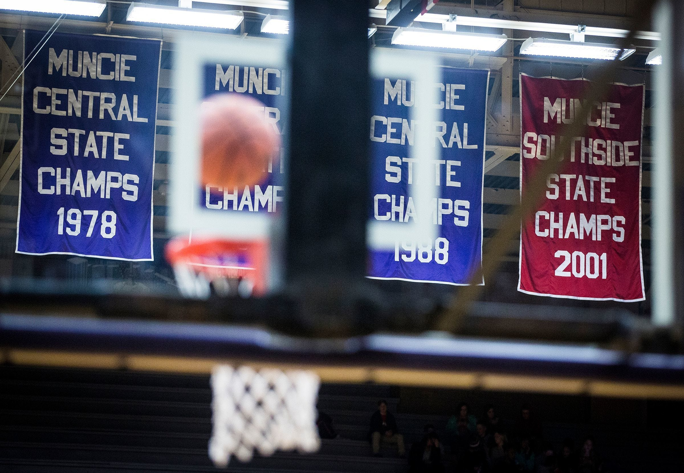 State championship banners at the Muncie Fieldhouse.