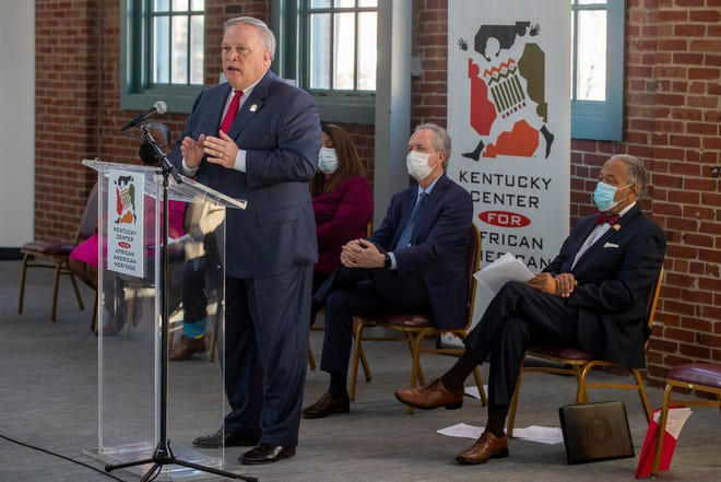 Sen. Robert Stivers speaks as the One West plan for a board, an advisory board, investments, and combatting gentrification in west Louisville was unveiled at the African American Heritage Center on Tuesday. Feb. 23, 2021
