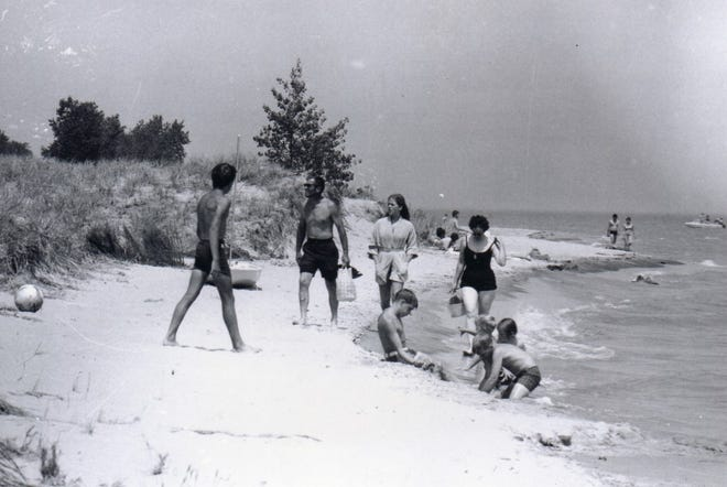 Beachgoers at Point Beach State Forest, circa 1960.