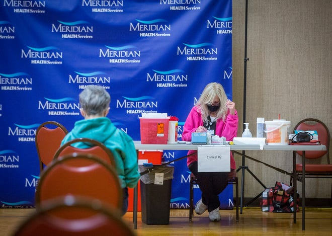 County residents receive Moderna COVID-19 vaccinations at the Suzanne Gresham Center through Meridian Health Services Tuesday. Starting Feb. 23, the state adjusted the age requirement for vaccinations to allow for individuals age 60 or older.