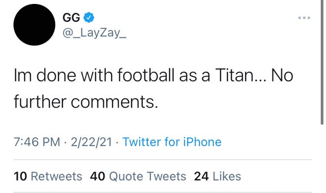A screenshot of Titans' 2020 first-round pick Isaiah Wilson's tweet on Monday, Feb, 22, 2021, indicating he was 'done' playing for the team. The tweet was deleted shortly after it was published.
