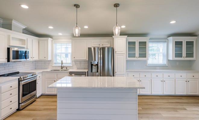 Shown is the kitchen in the 2020 Dolphin manufactured home model by LeeCorp Homes.