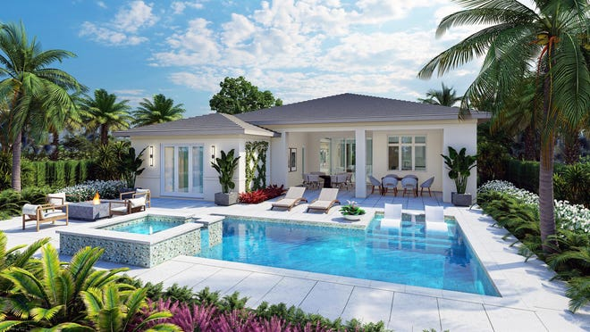 Nearing completion, London Bay Homes' 3,377-square-foot Mallory model will offer four bedrooms, four baths, and an expansive outdoor living space in the Cabreo neighborhood.
