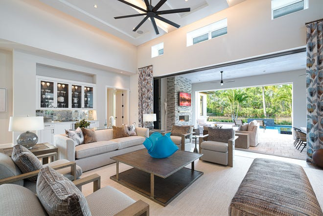 The move-in-ready Wellington illustrates London Bay Homes' clean-lined, coastal-inspired architecture and timeless floor plans in Mediterra.