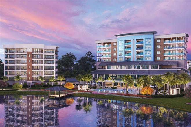 The spectacular Clubhouse at Moorings Park Grande Lake (right), which overlooks the community's 28-acre lake, is scheduled to be completed in late summer.