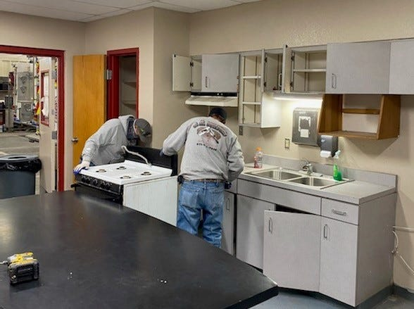 Doña Ana County Fire Station Number 9 in Chaparral undergoes kitchen renovations as part of a remodel before the station's switch to 24/7 service.