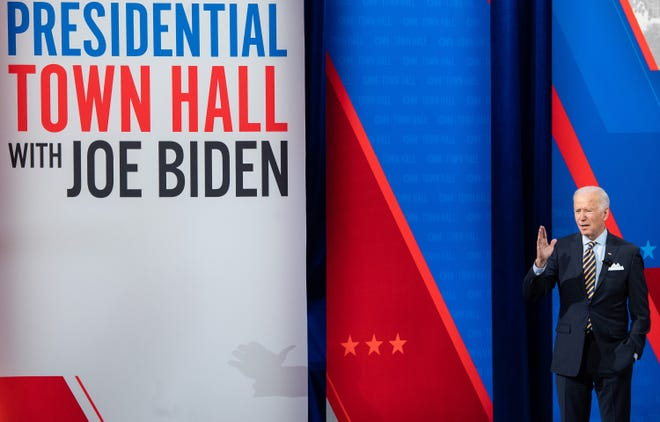 U.S. President Joe Biden participates in a CNN town hall at the Pabst Theater in Milwaukee on Tuesday, Feb. 16, 2021. (Saul Loeb/AFP via Getty Images/TNS)