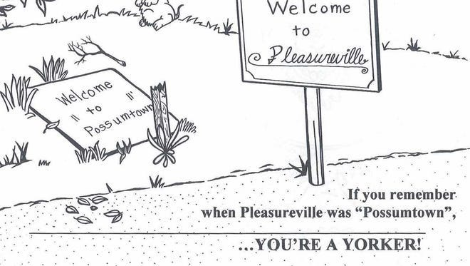 One of the drawings from the two-book series by Curvin Diffenderfer, a pseudonym for Lee Woodmansee, about 25 years ago. Springettsbury Township's Pleasureville, indeed, was known as Possumtown years ago.