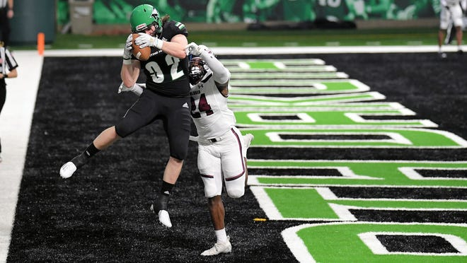 North Dakota's Brett Finke hauls in a touchdown in UND's 44-21 win over Southern Illinois last week in Grand Forks.