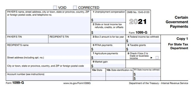IRS Form 1099-G shows how much you received in umemployment compensation and certain other government payments in a given year.