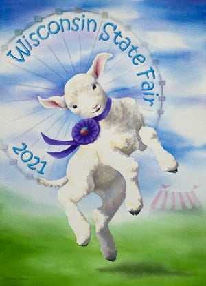 Janesville artist Deborah Perrino's playful watercolor depicts a joyful lamb celebrating the Wisconsin State Fair in front of an iconic Ferris wheel.