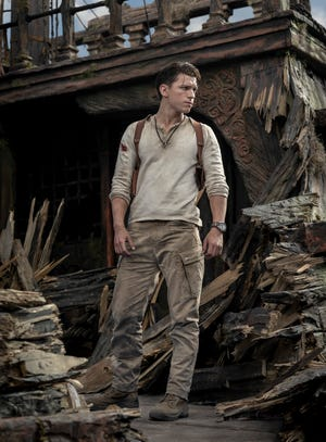 "Tom Holland plays fortune hunter Nathan Drake in ""Uncharted,"" based on the popular video-game series."