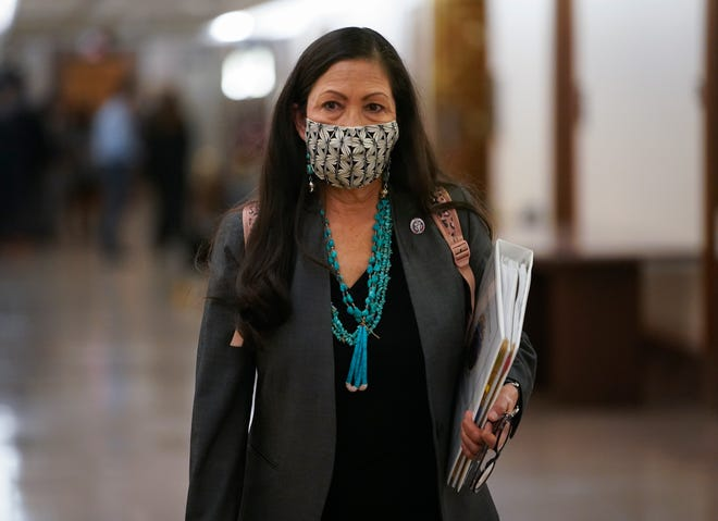 Interior secretary nominee Deb Haaland departs the Senate Energy and Natural Resources committee hearing considering her nomination Feb. 23.