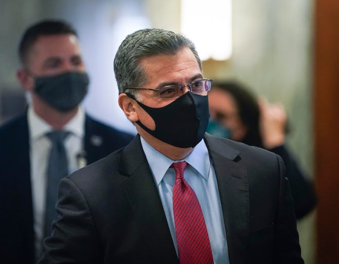 Xavier Becerra arriving for the Senate Committee on Health, Education, Labor and Pensions confirmation hearing to consider him for Health and Human Services Secretary on Tuesday.