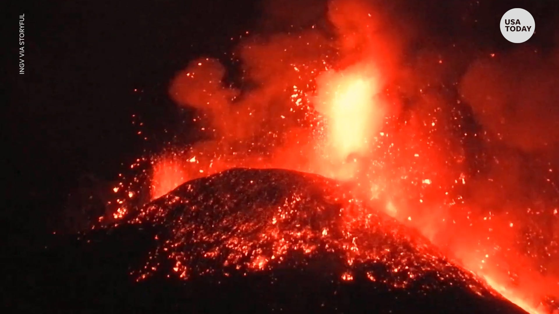 Mount Etna erupts for fourth time in a week with debris shooting over 1 km above volcano