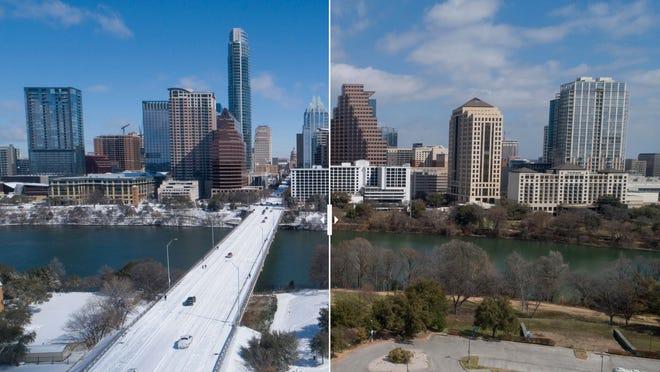 Austin's Ann Richards Congress Avenue Bridge nine days apart during and after the Texas winter storm.