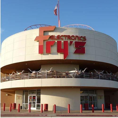 Fry's Electronics at 12710 Executive Drive in Dallas was one of six Incredible Universe stores that the California retailer purchased from Fort Worth-based Tandy Corp. in 1996.
