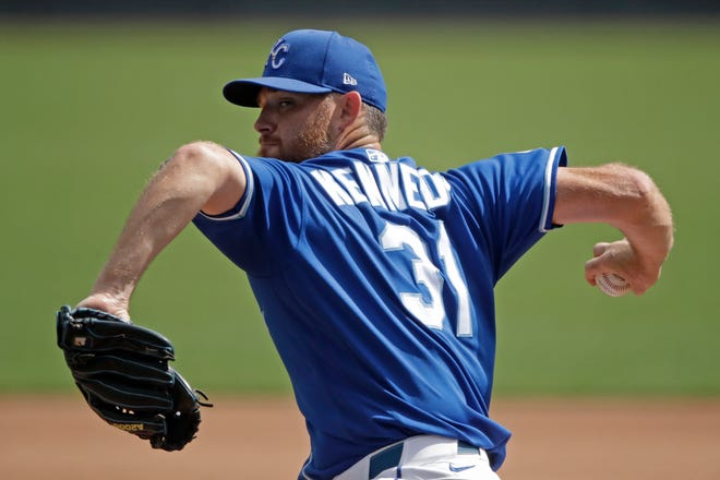 Former Kansas City Royals pitcher Ian Kennedy throws during baseball practice in 2020. The veteran right-hander has signed a minor league contract with the Texas Rangers, and will be in major league spring training with a chance to compete for a spot in their bullpen.