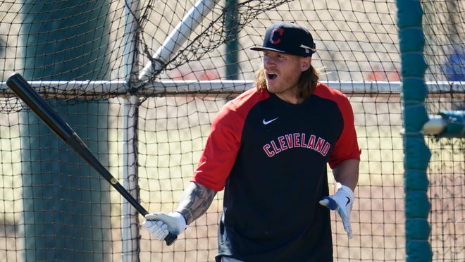 Cleveland's Ben Gamel steps in for batting practice during spring training workout in Goodyear, Arizona. Gamel has a shot at making the Opening Day roster as part of a platoon in center field. [Ross D. Franklin/Associated Press]
