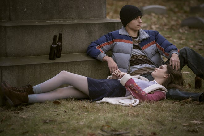 """Tom Holland stars as Cherry and Ciara Bravo plays his wife, Emily, in """"Cherry,"""" a film set and filmed in Cleveland."""