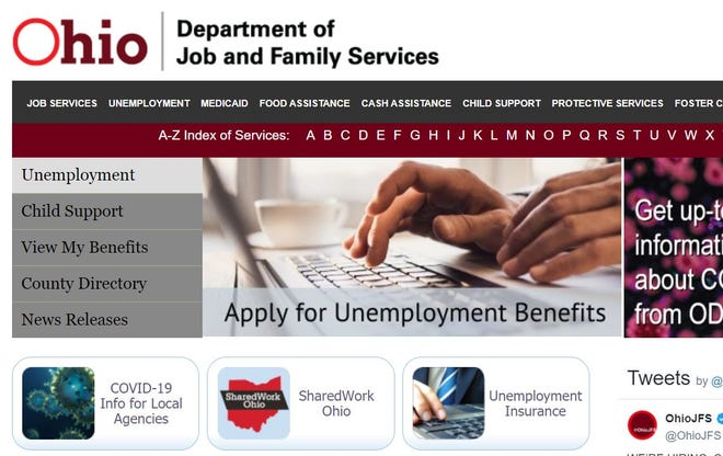 A partial screen shot of the homepage of the Ohio Department of Job and Family Services