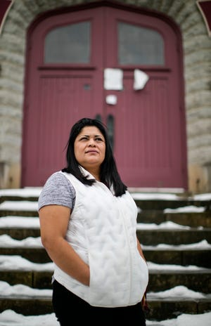 Miriam Vargas, 44, outside First English Lutheran Church, where she has been living since 2018. She was released this week by U.S. Immigration and Customs Enforcement on orders of supervision, meaning that she is nolonger an immediate priority for deportation.