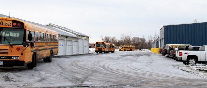 Here, buses pull into the facility after their morning routes on Tuesday.