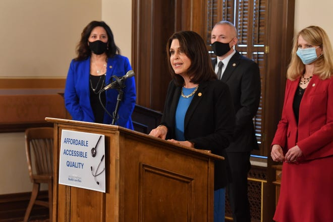 State Rep. Bronna Kahle, R-Adrian, chairwoman of the House Health Policy Committee, speaks Wednesday at a news conference introducing the Michigan House of Representatives' health care reform package.