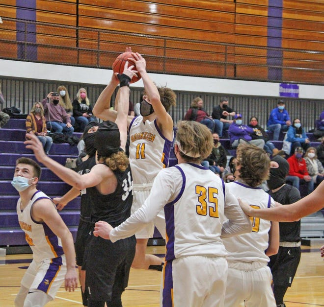 Bronson's Mason Harris (11) shown here in early season action versus Union City, had a big night shooting Tuesday to help lead the Vikings to victory over Concord.