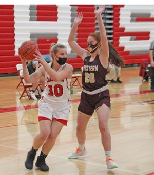 Coldwater's Anna DeMeester had perhaps her best career game, pouring in 11 points to help the Cardinals to the win