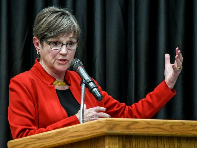 Kansas Gov. Laura Kelly talks with local participants during a Kansan to Kansan Budget Listening Tour at Garden City Community College's Perryman Athletic Complex in November 2019.