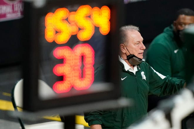 Michigan State head coach Tom Izzo is seen on the sideline during the second half of a game against Illinois on Tuesday, Feb. 23, in East Lansing, Mich.