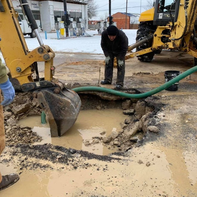 Crews work to repair water line damage in Denison during winter storms in February. The city of Denison is hiring a consultant to assess the electrical systems at some water generation sites to prevent similar failures in the future.