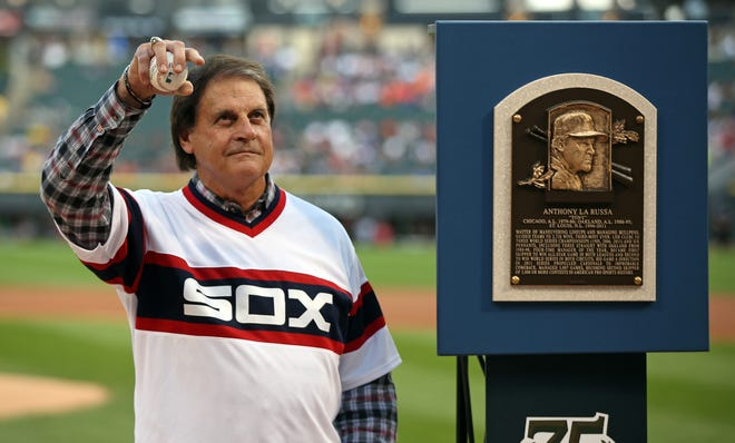 Hall of Fame manager Tony La Russa is honored before a game on Aug. 30, 2014, at U.S. Cellular Field in Chicago.