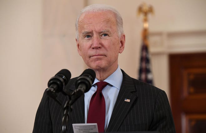 President Joe Biden speaks about lives lost to COVID-19 after the death toll passed 500,000, in the Cross Hall of the White House, on Monday, Feb. 22, 2021, in Washington, D.C. (Saul Loeb/AFP via Getty Images/TNS)