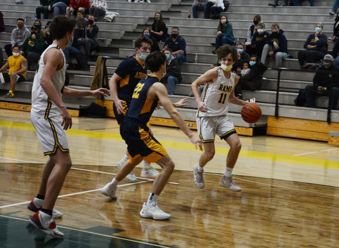 Flat Rock's Grady Frankhouse looks to drive against Ethan Orleans of Airport Tuesday night.