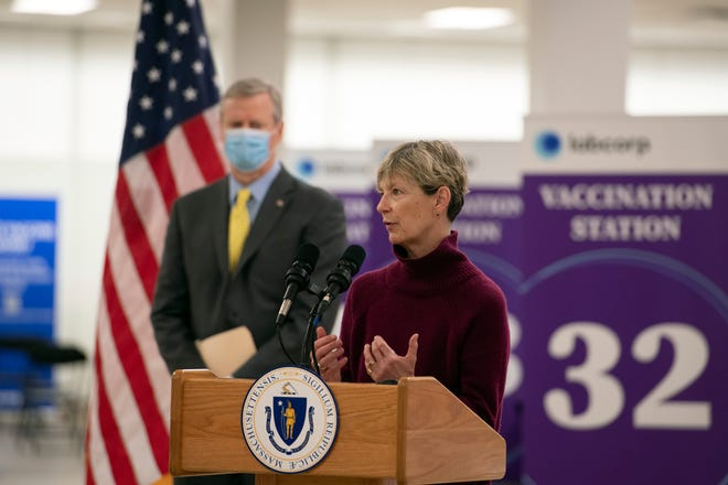 Health and Human Services Secretary Marylou Sudders answers a question during a press conference following the tour of the Natick Mall vaccination site, Feb. 24, 2021. Sudders is one of several officials the Joint Committee on COVID-19 and Emergency Preparedness and Management have invited to testify during oversight hearings on the Baker Administration's vaccine rollout.