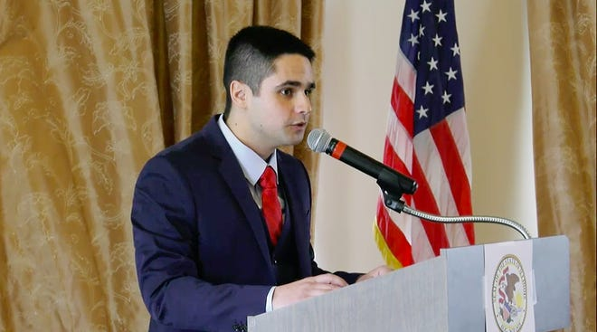 """Edward Guerra Kodatt, pictured during the meeting in which he was named to an Illinois House seat Sunday, resigned from the chamber Wednesday amid unspecified allegations of """"questionable conduct."""""""