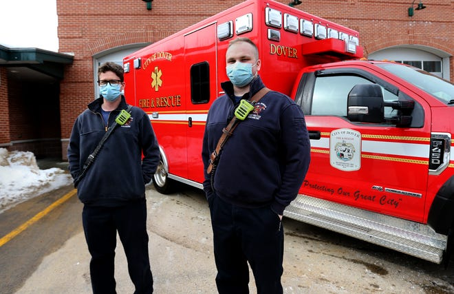 Dover firefighters/paramedics Ryan Chase, left, and Quinn Duffy are on duty Wednesday. The department is crediting citizen Good Samaritans with helping a boy injured sledding a day earlier.