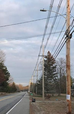 A portion of roadway near 321 and 339 Alfred Road in Kennebunk, Maine, pictured here in 2019, was chosen to test LED street lights because it offers a straight stretch of road with a wide breakdown lane.