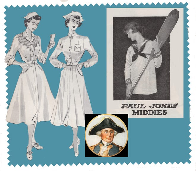 """Advertisements for Paul Jones uniforms from 1953, left, and Paul Jones """"Middy"""" fashion from the early 20th century. The Baltimore, Maryland, women's fashion company featured a portrait of naval hero John Paul Jones."""